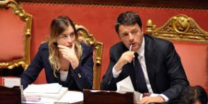 Matteo Renzi con Mariaelena Boschi in Senato