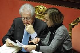 Mario Monti ed Elsa Fornero in Senato, 2012