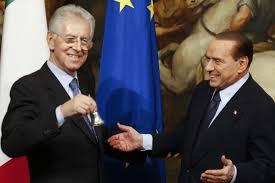 Il passaggio di consegne tra Berlusconi e Monti nel novembre 2011