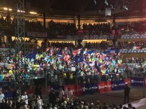 Una manifestazione a sostegno della candidatura di Emmanuel Macron
