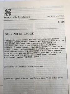 Il disegno di legge originario per il Codice semplificato del lavoro, n. 1873/2009