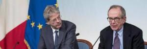 Il premier Gentiloni e il ministro dell'Economia Padoan